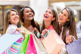 Happy group of shopping women — Stock Photo