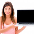 Woman holding a laptop — Stock Photo #27055397