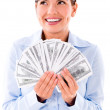 Business woman thinking how to spend money — Stock Photo