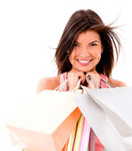 Happy female shopper — Stock Photo