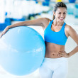 Gym womwith Pilates ball — Stok Fotoğraf #27279193