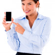 Business woman holding smart phone — Stock Photo