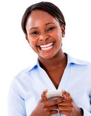 Business woman text messaging — Stock Photo