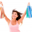 Stock Photo: Very happy shopping woman