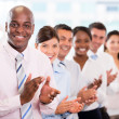 Foto Stock: Successful business team applauding