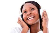 耳机的幸福女人 — 图库照片