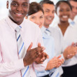 Stock Photo: Happy business team applauding