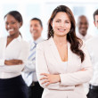 Business woman with a group — Stock Photo