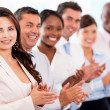 Successful business team applauding — Stock Photo