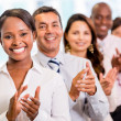 Successful business group applauding — Stock Photo