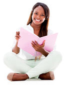 Vrouwelijke student glimlachen — Stockfoto