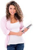 Female student holding a notebook — Stock Photo