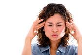 Vrouw met een hoofdpijn — Stockfoto