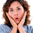 Surprised woman portrait — Stockfoto