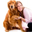 Happy woman with a dog — Stock Photo #29127599