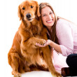 Happy womwith dog — Foto Stock #29127599
