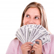Thoughtful woman with money — Stock Photo #29127609
