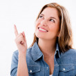 Thoughtful woman pointing — Stock Photo