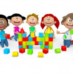 3D kids playing — Stock Photo
