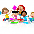 3D happy school kids — Stock Photo