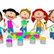 3d kids painting — Stock Photo