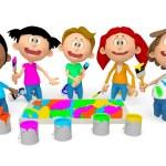 3D kids painting — Stock Photo