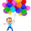 3D boy with balloons — Stockfoto
