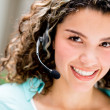 Woman at a call center — Stock Photo