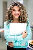 Obchodní žena s notebookem — Stock fotografie