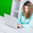 Stock Photo: Business womworking online