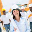 Foto Stock: Engineer at a construction site
