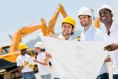 Grupo de trabalhadores da construção civil — Fotografia Stock