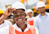 Construction worker at a building site — Stock Photo
