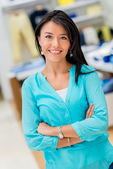 Woman at a store — Stock Photo