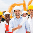Group of men at a construction site — Stock Photo