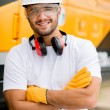 Worker at a construction site — Stock Photo