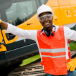 Construction worker with a crane — Stock Photo