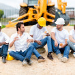 Construction workers on a break — Stock Photo