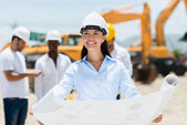 Architect at a construction site — Stock Photo
