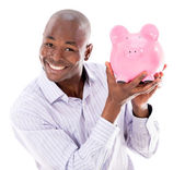 Business man with a piggybank — Stock Photo