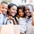 Happy shopping family — Stock Photo