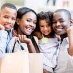 Happy shopping family — Stock Photo