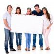 Group of people holding a banner — Stock Photo #30210829