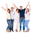 Group of people with arms up — Stock Photo