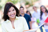 Happy girl at the university — Stock Photo