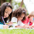 Group of children coloring — Stock Photo