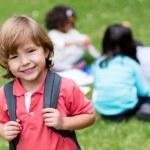 Happy boy going to school — Stock Photo #30448551