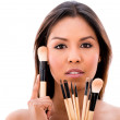 Woman with make up brushes — Stock Photo #30449229