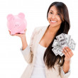 Woman saving money — Stockfoto