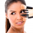 Woman with make-up brushes — Foto de Stock